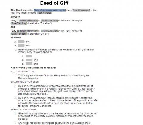 Deed of gift immediate transfer act nsw nt sa vic wa for Deed of gift template australia