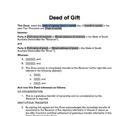 Sa deed of gift immediate transfer docdownload for Deed of gift template australia