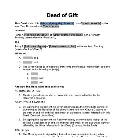 Sale gift docdownload for Deed of gift template australia
